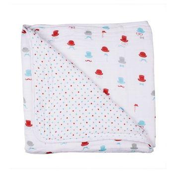 Bebe au Lait Classic Muslin Snuggle Blanket, Dewberry and Lattice