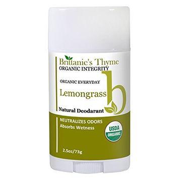 Organic Natural Deodorant - USDA Certified Organic, Certified Gluten Free, Vegan, Cruelty Free for Men & Women (Lemongrass)