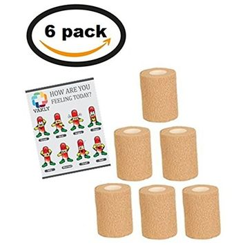 Vakly Pack - 6 Pack Of 3 Inches X 5 Yards Self Adherent Cohesive Bandages (6)