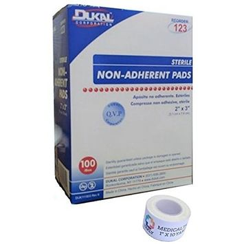 Sterile 2x3 Non-Adherent Pads (1 Pack of 100) + 1 Roll of Vakly Medical Tape (1)