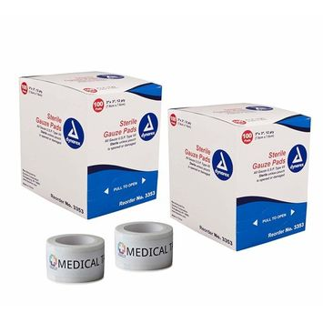 2 Pack 3''x3'' Individually Wrapped 12-Ply Sterile Gauze Pads (200 Total) + 2 Rolls of Vakly Medical Tape (3''x3'')