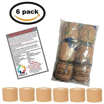 2'' X 5 Yards Self Adhesive Cohesive Bandage (6 Pack) - Plus Vakly 1st Aid Kit Guide