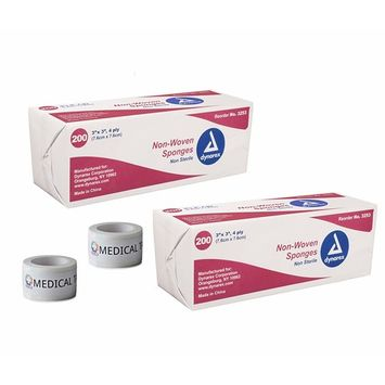 2 Pack Non-Sterile Non Woven Sponge 3x3'' 4 Ply + 2 Rolls of Vakly Medical Tape (3''x3'')
