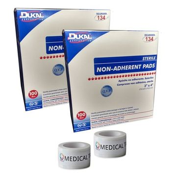 Sterile 3x4 Non-Adherent Pads (2 Packs of 100) + 2 Rolls of Vakly Medical Tape (2)