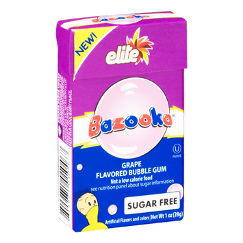 Bazooka Elite Bubble Gum Grape Sugar Free