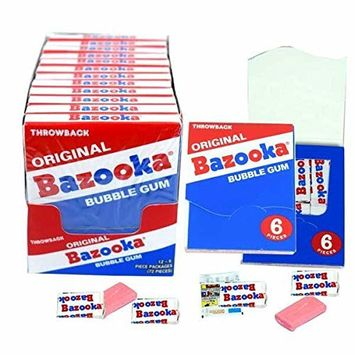 Bazooka Throwback Mini Wallet Gum 1.27oz 6 Pieces Box of 12