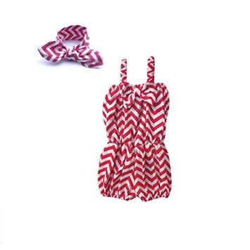 Unique Baby Baby-Girls 2 Piece Chevron Romper with Matching Headband (2-3 Years, Yellow)