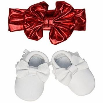 Unique Baby Bow Moccasins and Metallic Headband Set (X-Small, Red)