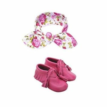 Leather Baby Moccasin with Floral Print Baby Bow Knot Headband (12-18 month)