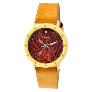 Women's Crayo Slice of Time Watch with Leather Suede-Overlaid Strap- G