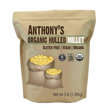 Organic Hulled Millet (3lb) by Anthony's - Gluten Free, Raw and USA Grown