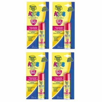 Banana Boat Kids UVA/UVB Protection Sunscreen Stick for Faces, Broad Spectrum SPF 50, 0.55 Oz (Pack of 4) + Makeup Blender Stick, 12 Pcs