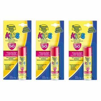 Banana Boat Kids UVA/UVB Protection Sunscreen Stick for Faces, Broad Spectrum SPF 50, 0.55 Oz (Pack of 3) + Makeup Blender Stick, 12 Pcs