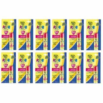 Banana Boat Kids UVA/UVB Protection Sunscreen Stick for Faces, Broad Spectrum SPF 50, 0.55 Oz (Pack of 12) + Makeup Blender Stick, 12 Pcs