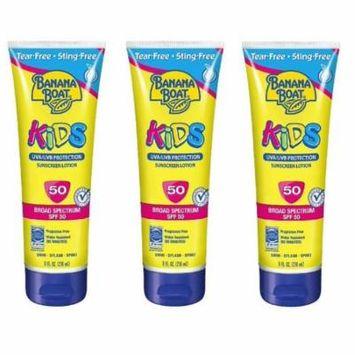 Banana Boat Kids UVA/UVB Protection Sunscreen Lotion, Broad Spectrum, SPF 50, 8 Oz (Pack of 3) + Makeup Blender Stick, 12 Pcs