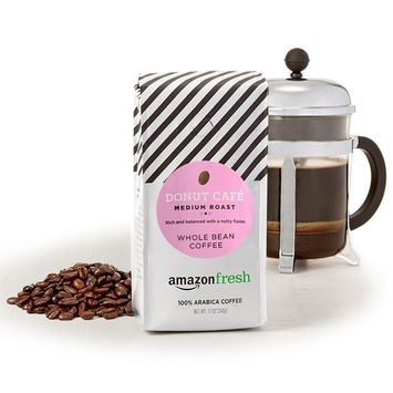 AmazonFresh Donut Cafe Whole Bean Coffee, Medium Roast, 12 Ounce (Pack of 3)