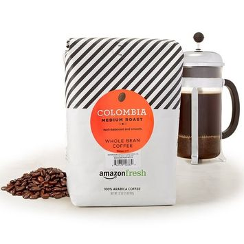 AmazonFresh Colombia Whole Bean Coffee, Medium Roast, 32 Ounce [Colombia, Medium Roast]