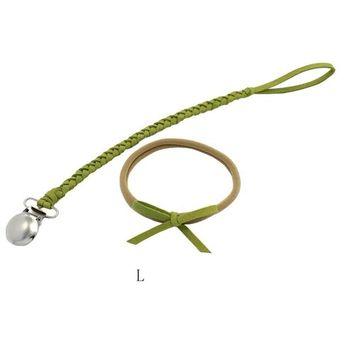 SUNBIBE Baby Chain Dummy Nipple Belt Braided Pacifier Holder Clips Bow Headbands Set