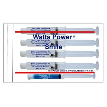 Direct 2U Wholesale Watts Power 35% Dual Action Teeth Whitening Gels Huge 10ml - 4 Huge 10ml Gels Plus Aftercare Gel - Optimized OTC Dual Action for Surface and Deep Stains for Quick Results - Made in the USA - Kosher