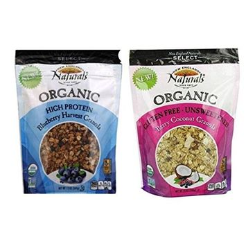 England Naturals Select Organic Granola 2 Flavor Variety Bundle: (1) High Protein Blueberry Harvest, and (1) GF Unsweetened Berry Coconut, 12 Oz. Ea. (2 Bags)