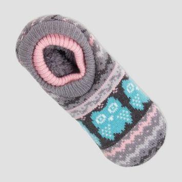 Women's Owl Double Cuff Slipper Socks - Gray One Size