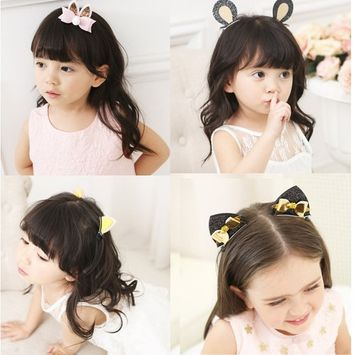 Sunrisee 7 Pcs Cute Cat Ear Hair Clips Hair Barrettes for Girls Baby Kids