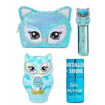 Justice For Girls Owl 4pc Cosmetic Gift Set Lip Balm Nail Polish Mask Bag