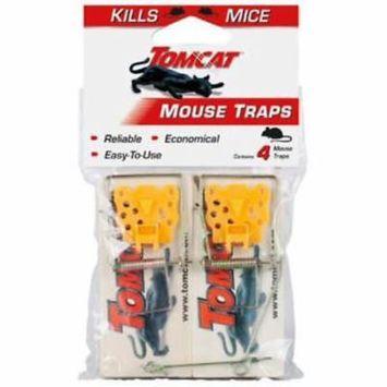 Tomcat 4pc Deluxe Wooden Mouse Trap Yellow Plastic Bait Petal 4PK