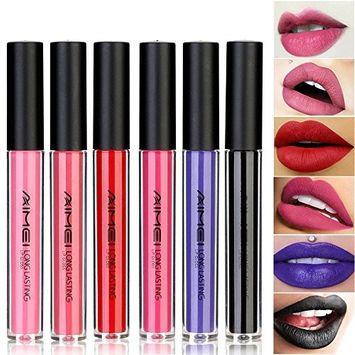 Neverland Beauty 6pcs Make-up Lips Lipstick Matte Lippenstift Lip Gloss Super Long Lasting(AIMEI-#2)