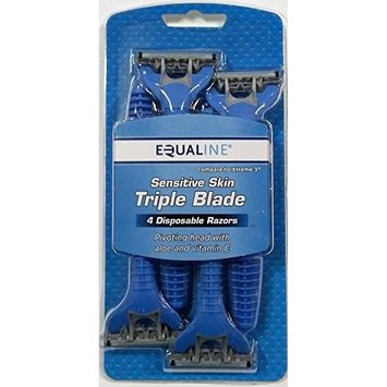 4 Pack Triple Blade Sensitive Skin Disposable Razors for Men with Pivoting Head