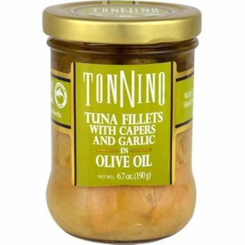 Tonnino Tuna Fillets with Capers and Garlic in Olive Oil -- 6.7 oz pack of 2