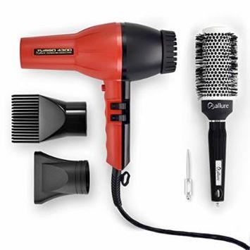 Allure Turbo 4300 Tourmaline/Ceramic/Ionic Hair Dryer + Silk Round Brush Set: Professional Hair Dryer + 43mm Ceramic Ionic Brush for Hair Quick Drying & Protection/ Top Hair Salon Equipment Set