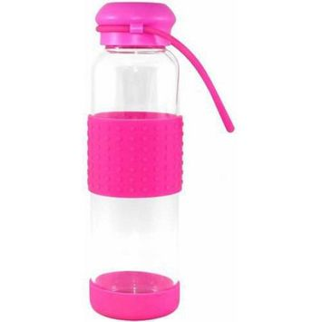 Gourmet Home Products 16 Oz Glass Water Bottle with Silicone Band