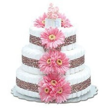 Large Hot Pink Daisy Diaper Cake by Bloomers