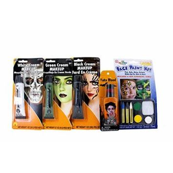 Halloween Makeup Face Paint Cream 5 Piece Bundle: Zombie Vampire Blood Witch Cat