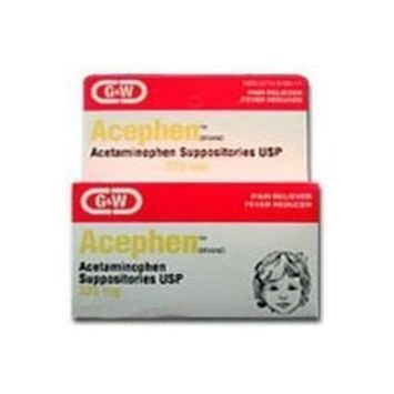 G & W Laboratories Acephen Acetaminophen suppositories 120 mg, Pediatric - 12 Ea