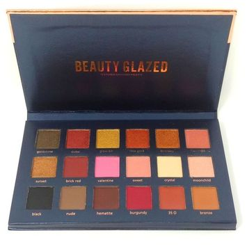 Beauty Glazed Eyeshadow Palettes 18 Colors Waterproof Eye Shadow Powder Make Up Palette Shimmers Mattes Browns Red Burgundy Bronze Glow Kit Contour