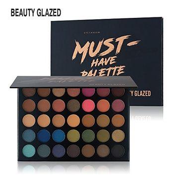 Beauty Glazed Eyeshadow Palette, Professional 35 Colors Matte Eye Shadow Pallet Waterproof Powder Natural Pigmented Nude Smokey Eyes Pallete