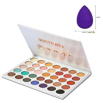 Beauty Glazed Professional Cosmetic Matte Shimmer Eyeshadow Palette 35 Color With Drop Shaped Cotton Pad Long Lasting Eyeshadow Palette Powder(35...