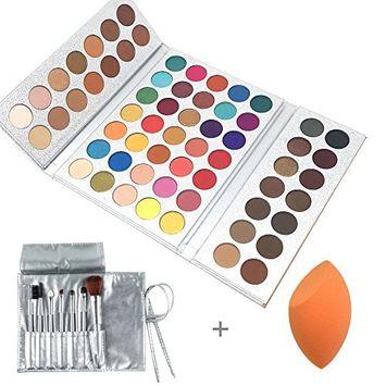Beauty Glazed Eyeshadow Palettes 63 Shades Eye Shadow Powder Make Up Waterproof Eye Shadow Palette with Make Up Brushes Set and Powder Sponge Blender