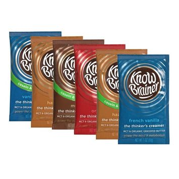 Know Brainer 6 Count Coffee Creamer, Sampler Caddie, Try Our Dairy and Non-Dairy MCT Creamers [Sampler]