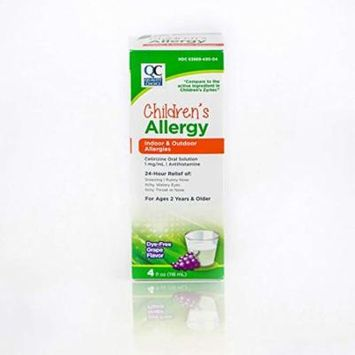 2 Pack Quality Choice Children's Allergy Syrup 24 hour relief Grape 4oz Each
