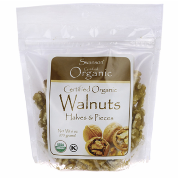 Swanson Certified Organic Walnuts, Halves & Pieces 6 oz (170 g) Pkg