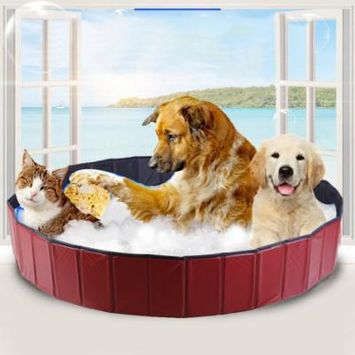 130*80cm Portable Foldable PVC Pet Dog Swimming Paddling Folding Pet Pool Bathing Tub Bathtub Care Grooming Accessories