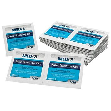 MEDca Alcohol Prep Pads, Sterile, Medium, 2-Ply PACK OF 100