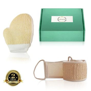 LOOFAH BODY SCRUBBER and HAND GLOVE SET. Natural SISAL FIBRE EXFOLIATING SPONGE . Soft and gentle Double handled LOOFAH for back and body washing. Presented in a gift box to pamper her or him.