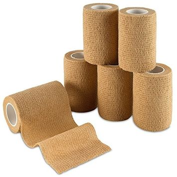 MEDca Self Adherent Cohesive Wrap Bandages 3 Inches X 5 Yards 6 Count, FDA Approved (Skin Color)