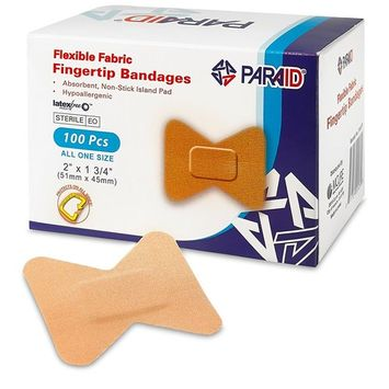 Flexible Fabric Bandages - Flex Fabric Adhesive Bandages Finger-Tip Bandages for Finger Care and to Protect Wounds from Infection - (100 Count Box)