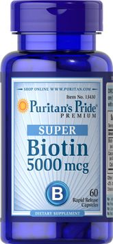 Puritan's Pride 2 Units of Biotin 5000 mcg-60-Capsules