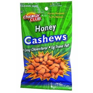 Energy Club Sweet & Salty Honey Cashews, 2.5-Ounce Bags (Pack of 12)